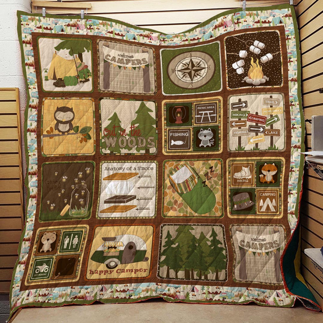 Happy Camping Blanket Quilt