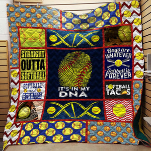 Softball Is In My DNA Blanket Quilt