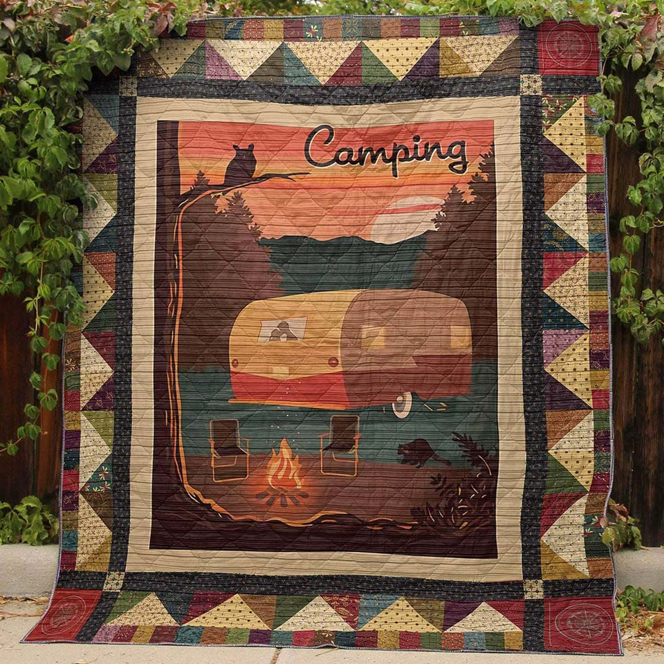 Camping Is For Lovers Blanket Quilt