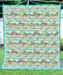 Campers On The Road Again Blanket Quilt Green