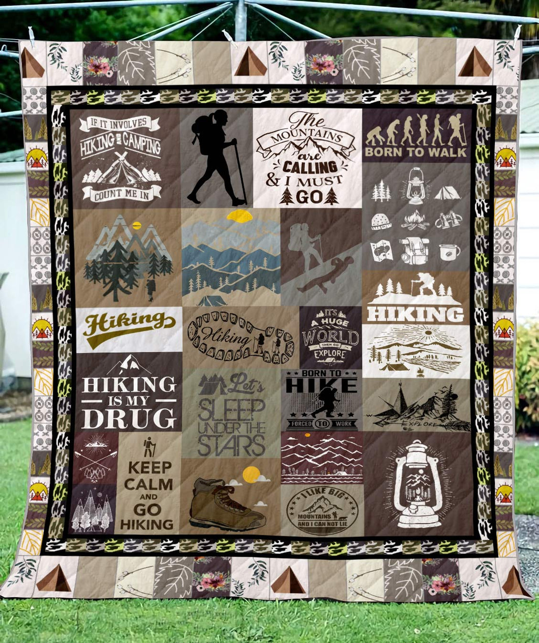 Hiking Mountains Are Calling Blanket Quilt