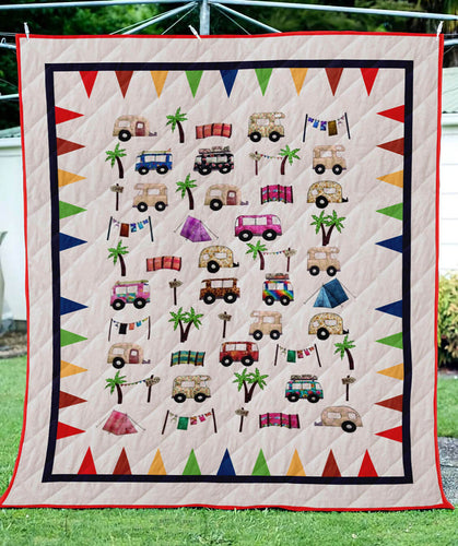 Campers Summer Vocation Blanket Quilt