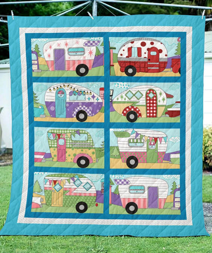 Colorful Campers Blanket Quilt