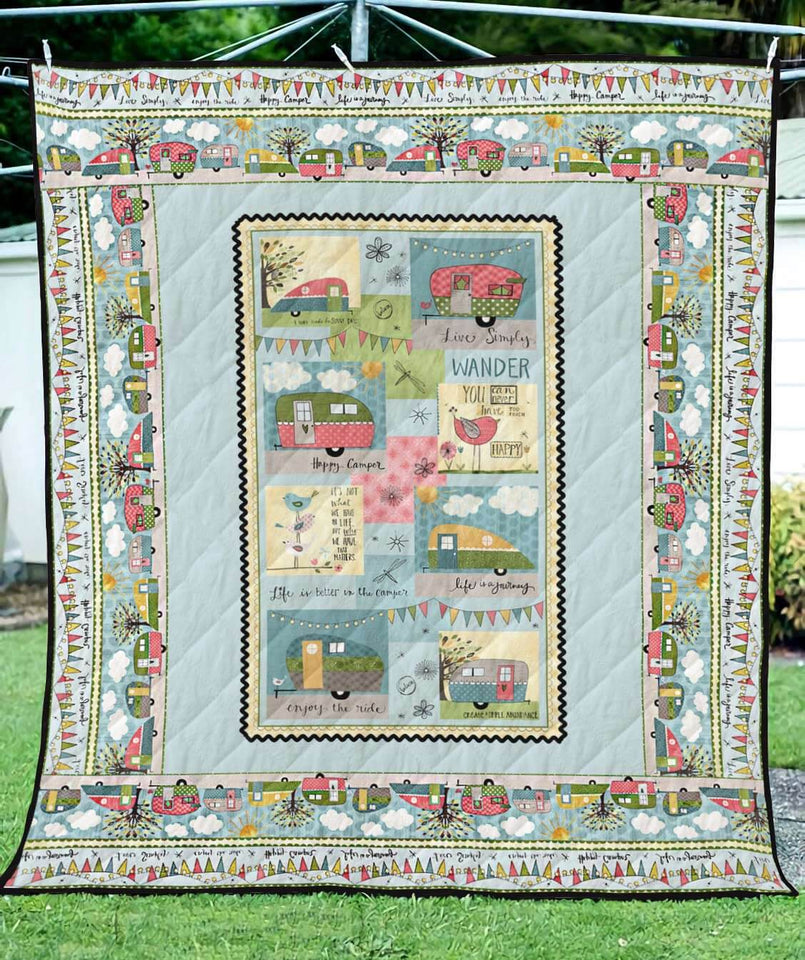 Happy Campers On Road Blanket Quilt