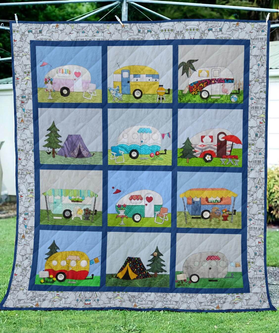Campers Cute Homes Blanket Quilt