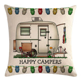 White Travel Trailer Pattern Pillow Cover