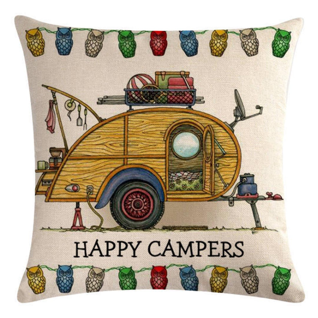 Wooden Teardrop Trailers Pattern Pillow Cover