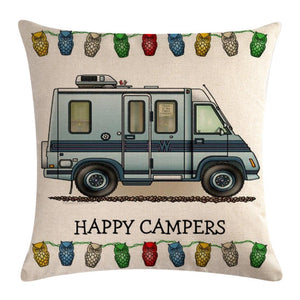 Blue Motorhome Pattern Pillow Cover 1