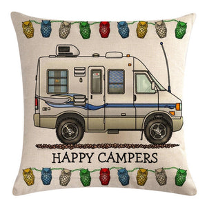 White Motorhome Pattern Pillow Cover