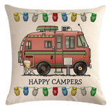 Red Motorhome Pattern Pillow Cover