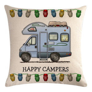 Blue Motorhome Pattern Pillow Cover 2