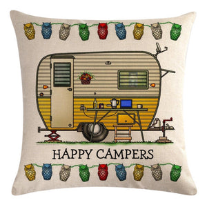Beige Yellow Travel Trailer Pattern Pillow Cover
