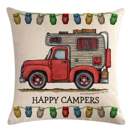 Red Truck Camper Pattern Pillow Cover
