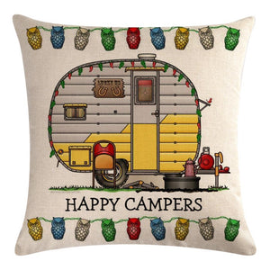 White Yellow Travel Trailer Pattern Pillow Cover