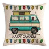 Green Motorhome Pattern Pillow Cover