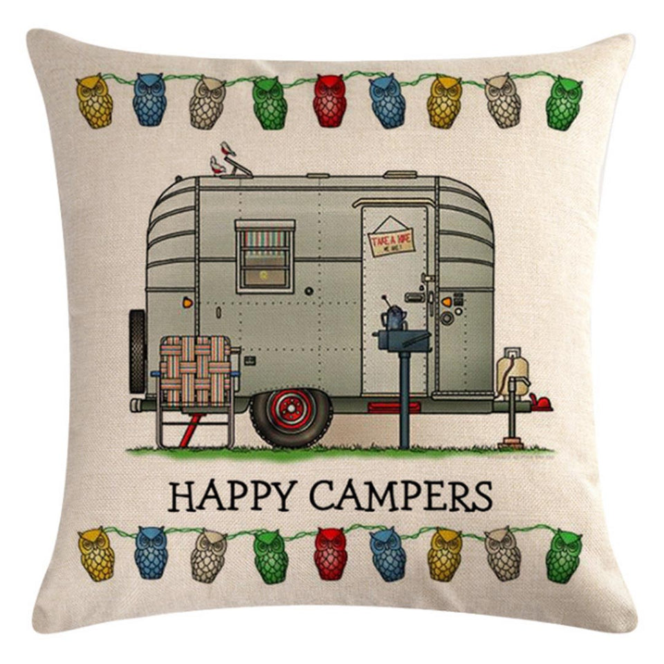 Gray Travel Trailer Pattern Pillow Cover