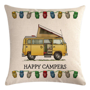Yellow Motorhome Pattern Pillow Cover