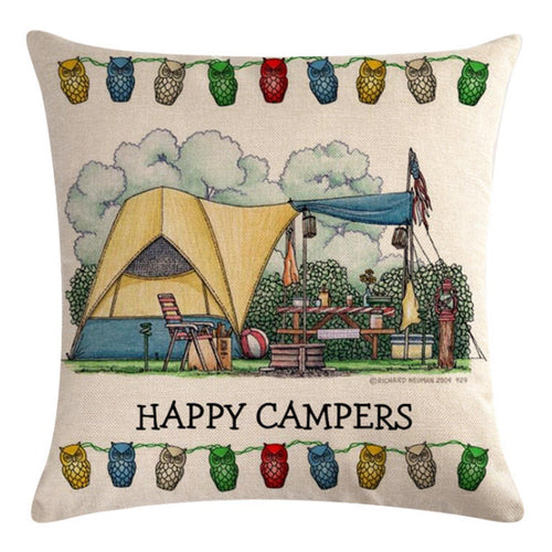 Happy Camper Tent Pattern Pillow Cover
