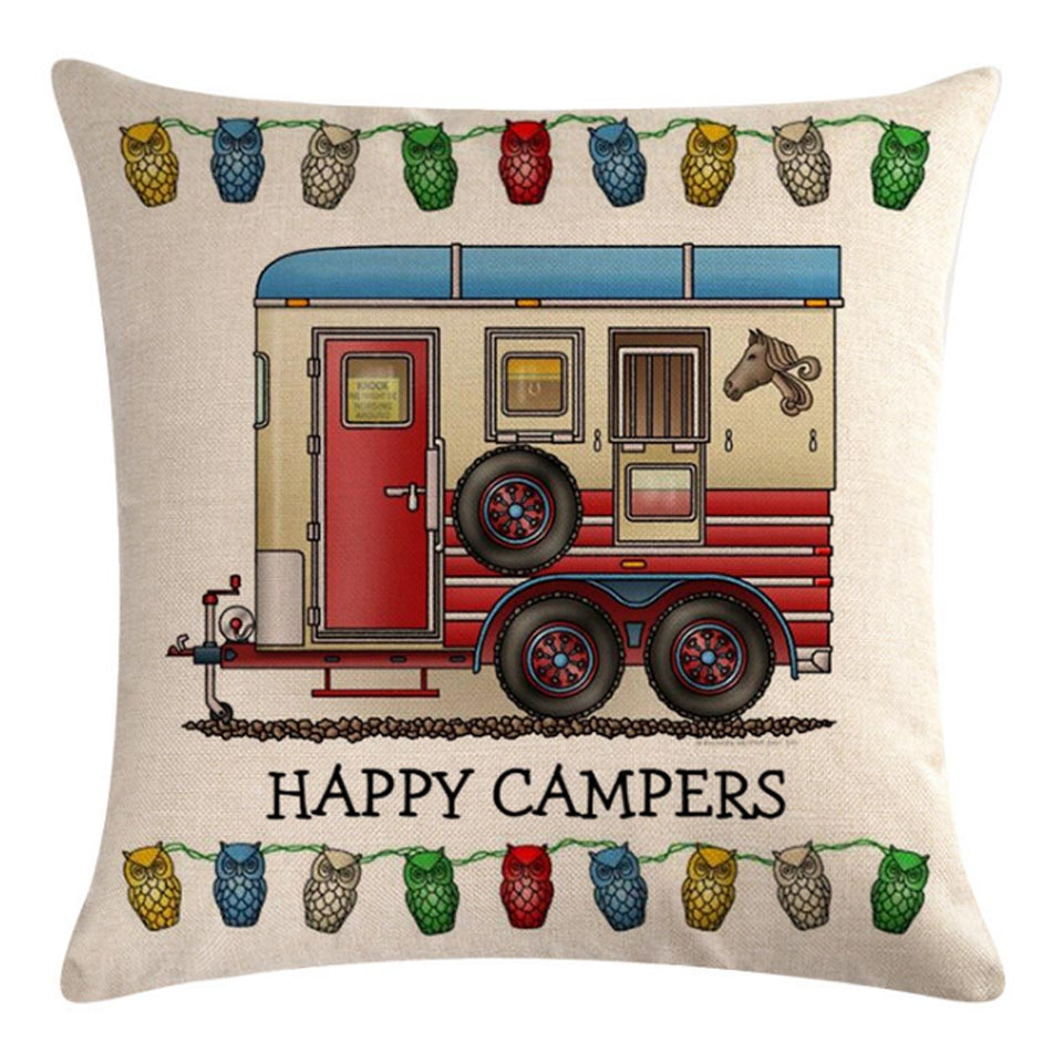 Three Spare Wheels Trailer Pattern Pillow Cover