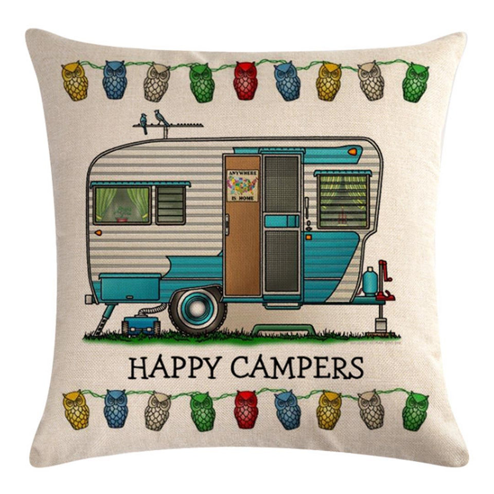 White Blue Travel Trailer Pattern Pillow Cover