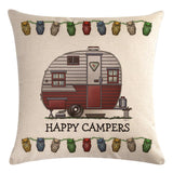 Red White Teardrop Trailer Pattern Pillow Cover