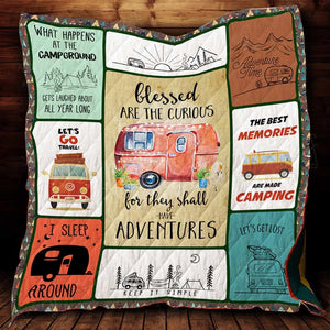 Blessed Are The Curious Camping Blanket Quilt