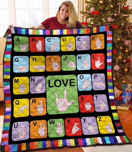 Sign Language Blanket Quilt
