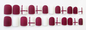 Wine Red Cross Matte Press On Nails