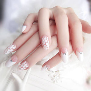 White Cherry Crystal Press On Nails