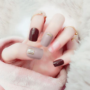 Pearl Decorative Marble Press On Nails