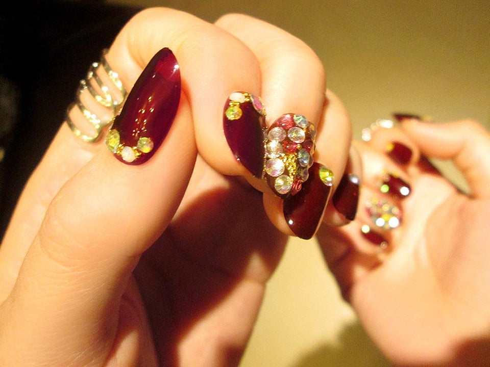Wine Red Crystal Press On Nails