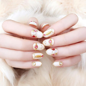 White Crystal Glitter Luxurious Press On Nails