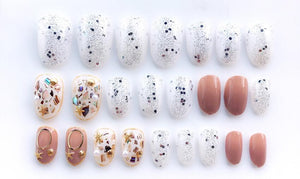 Sequin Gold Detailed Luxurious Press On Nails