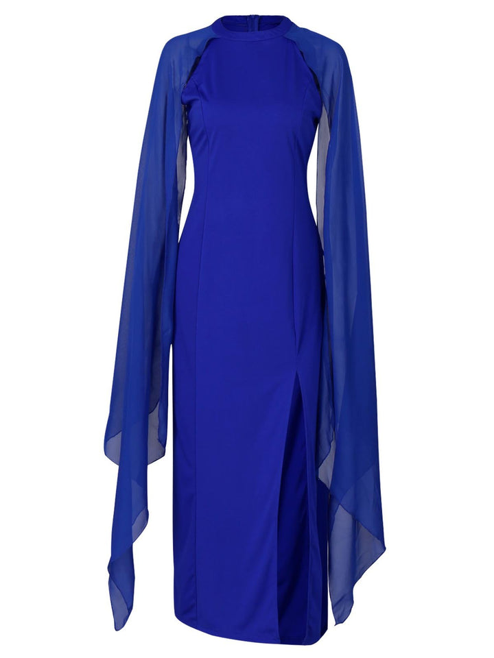 Solid Color O Neck Split Formal Dress