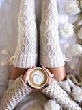 Solid Knit Thigh-High Socks