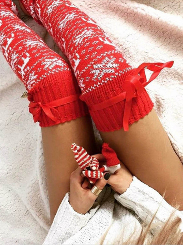 Reindeer Knitted Thigh-High Socks