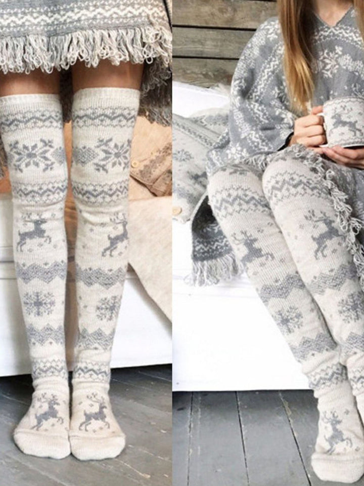 Snowflake Reindeer Thigh-High Socks