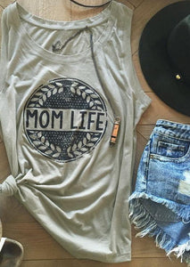 Mom Life Olive Branches Sleeveless Tank