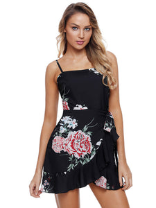 Boho Floral Print Frill Sleeveless Mini Dress
