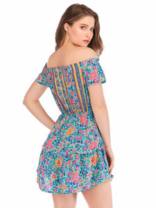 Boho Floral Chest Strap Off Shoulder Mini Dress