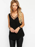 Solid Mesh Collar V-Neck Tank Top