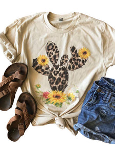 Leopard Cactus Sunflower T-Shirt