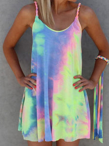 Colorful Tie Dye Twist Mini Dress No Bracelet