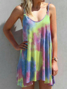 Iridescent Tie Dye Twist Mini Dress No Bracelet