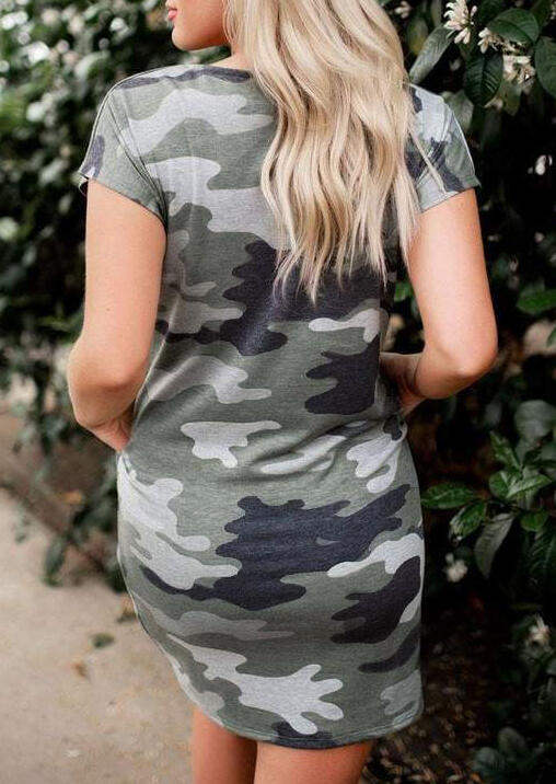 Camouflage Printed O-Neck Mini Dress
