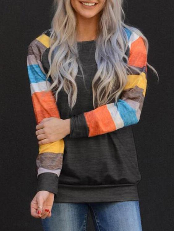 Colorful Striped Sleeve Splicing Sweatshirt