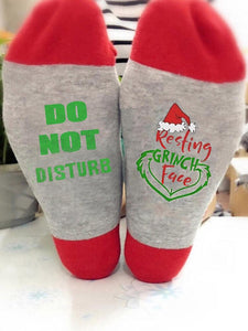 Do Not Disturb Resting Grinch Face Funny Socks