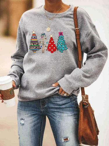 Christmas Trees Leopard Polka Dot Printed Sweatshirt