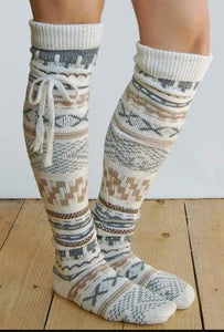[PRE-SALE] National Style Printed Strapped Thigh-High Socks