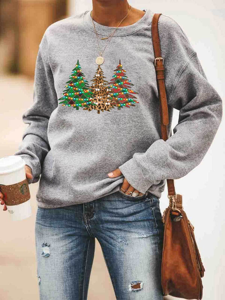 Christmas Lights Decorated Trees Sweatshirt